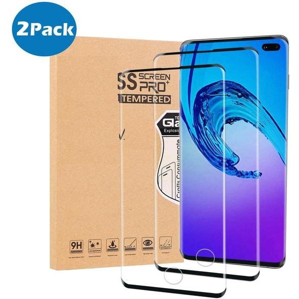 2 st heltäckande  härdat glas för Samsung s10 plus Transparent
