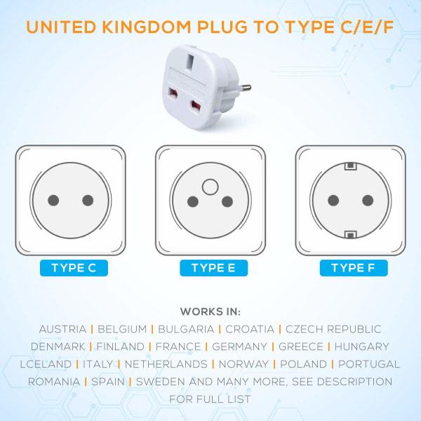 Reseadapter , UK till EU typ C,E,F (Storbritannien till EU) Resa