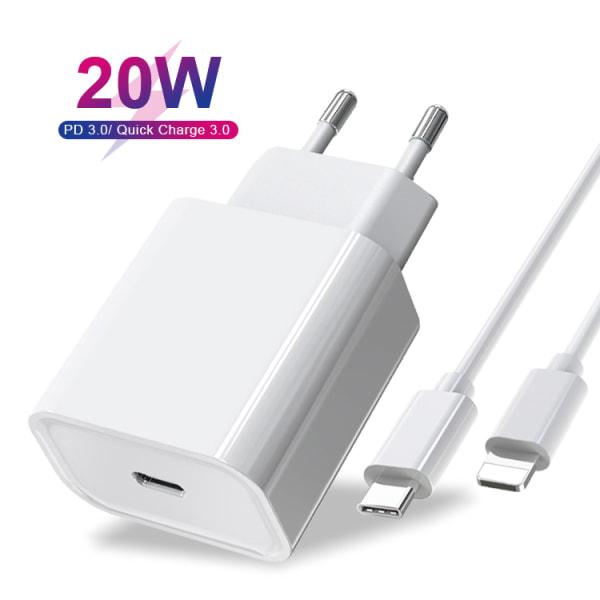 20W USB C för iPhone snabbladdare och USB-C till Lightning kabel