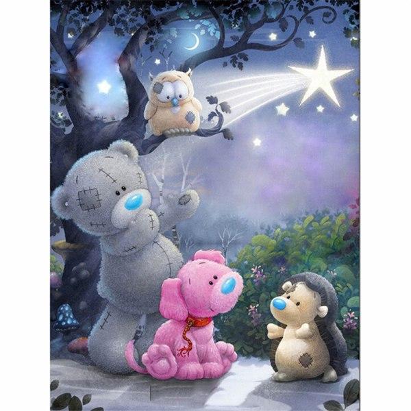 1set Diamantmålning Korsstygn Tecknad björn Mosaik 5D Diamo one size