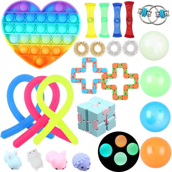 24-pack Fidget Toy Set Pop IT sensorisk leksak för barn vuxna
