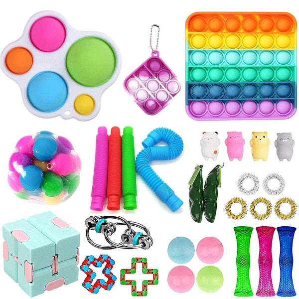 Fidget Toys Pack Sensory Pop det Stress Ball Party Gåva 30pc