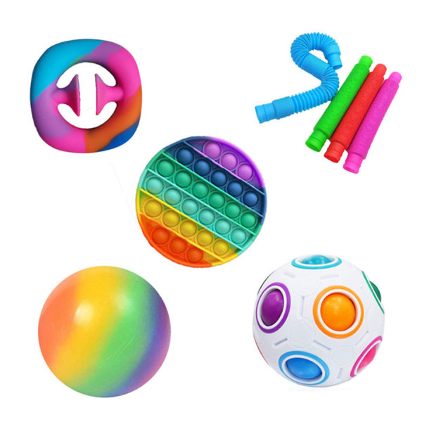 8 st Fidget Toys Pack Sensory Pop it Stress Ball