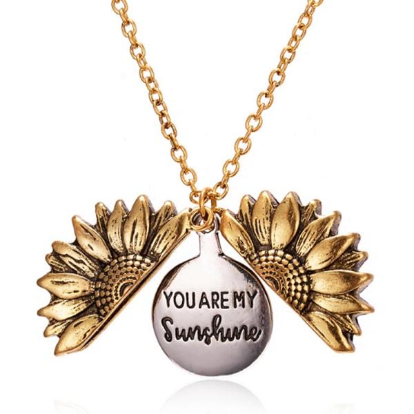 You Are My Sunshine Open Locket Sunflower Pendant Necklace Fash