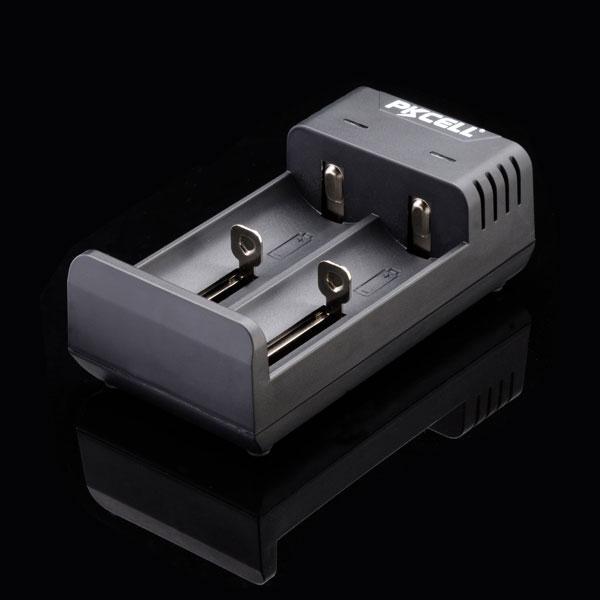 PKcell 18650 Laddare + 2 batterier Svart