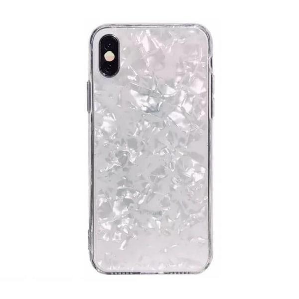 iPhone 6 PLUS - Vit skimrande bling pärlemor snäckskal mobilskal