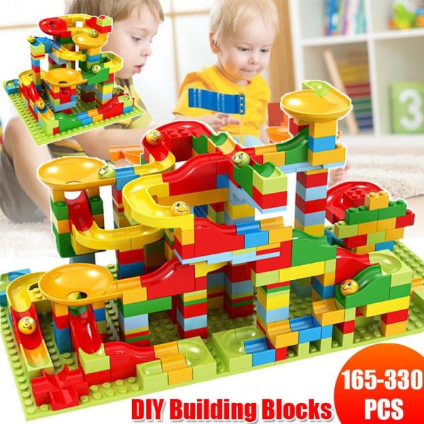 165/330 PCS Mini Version Building Block Funnel Slider Toys