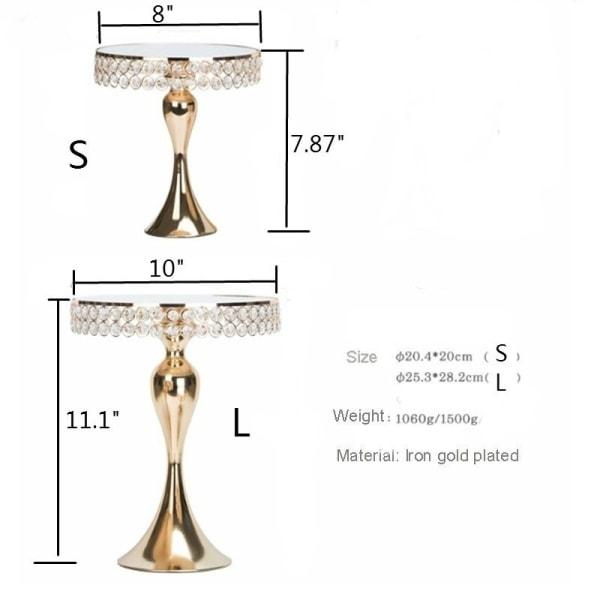 1st Guldkakastativ med Cyrstal-spegel Top Mermaid Tail Style S