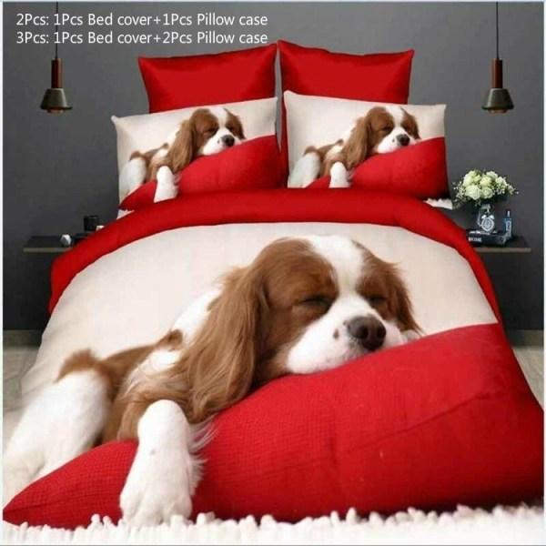 3D Animal Bedding Set Red Lovely Dog Pattern quilt cover