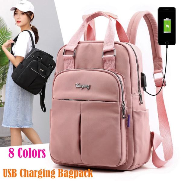 Laptop ryggsäckar USB laddning Bagpack reserygsäck skolväska Black