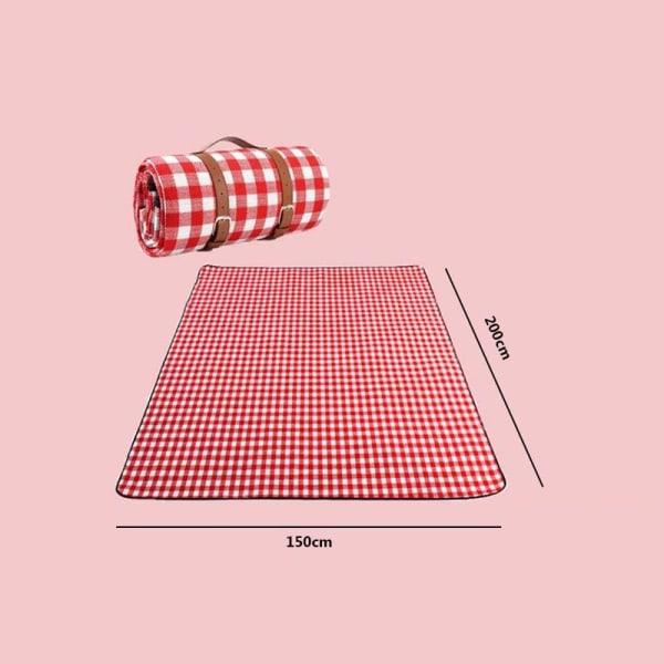 Picknickmatta utomhusmjuk filt Picknickduk Campingmatta Red White Large grid-150x200cm