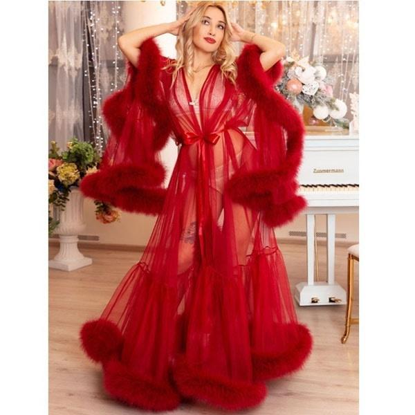 Sexiga underkläder Kvinnor Nattkläder Lace Maxi Robe Dress Wine red
