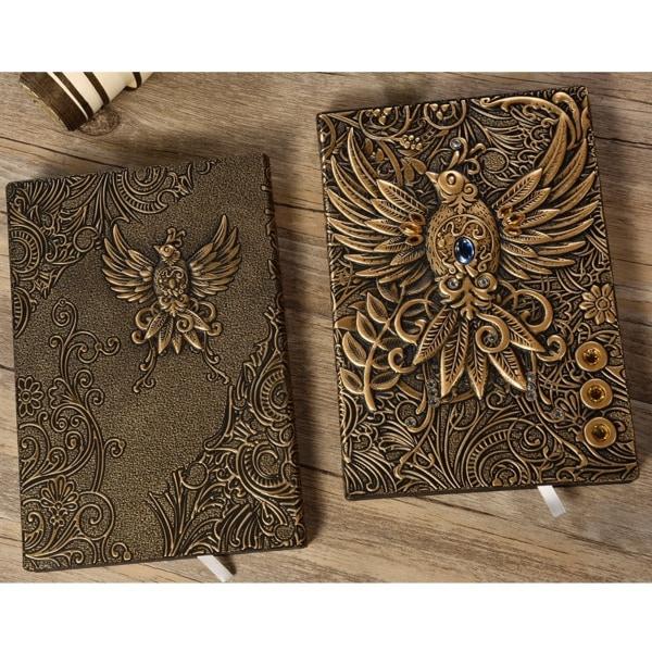 A5 3D-präglat läderutskrift präglat Phoenix Diary Notebook