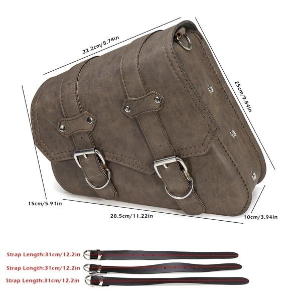 PU läder vänster / höger sidväska sadelväska med flaskhållare black right