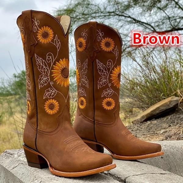 Solrosstövlar Tjock klack Läder Cowboystövlar brown 36