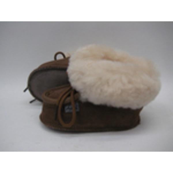 Fårskinnstofflor med lädersula brun AXELDA Barn 18-19