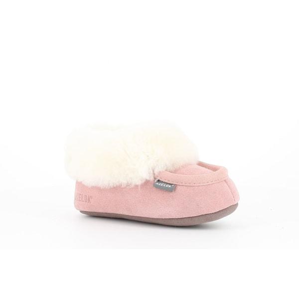 Fårskinnstofflor med lädersula rosa AXELDA 35