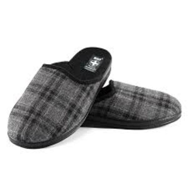 Filt innetofflor toffel slippers KLASSISK grå rutig 42