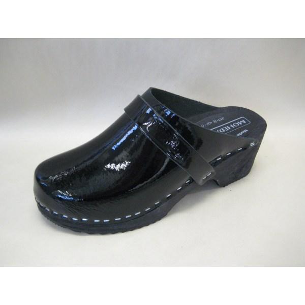 Trätofflor  klassisk Moheda 13200 svart lack 38