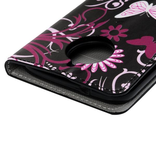 Plånboksfodral Moto G5S - Svart med Fjärilar