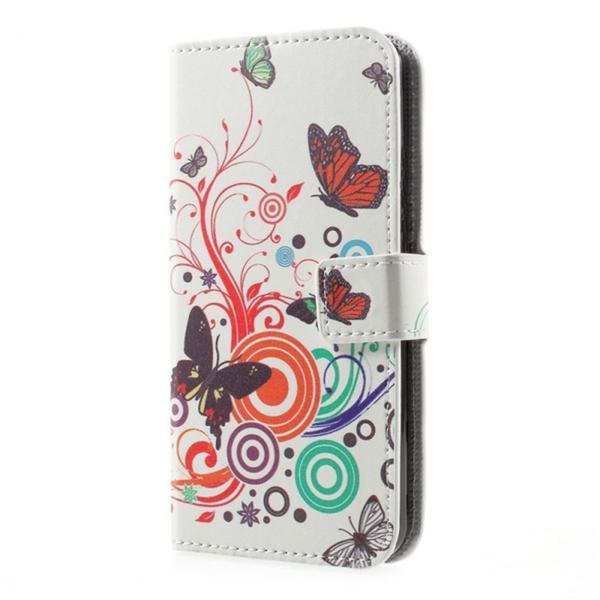 Plånboksfodral Moto G5S - Vit med Fjärilar