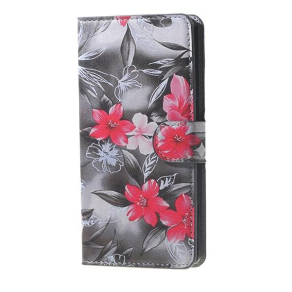 Plånboksfodral Samsung Galaxy A6 Plus - Svartvit med Blommor