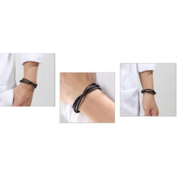 Läder arm/halsband 60 cm svart Bolo Flätat Surfar Punk