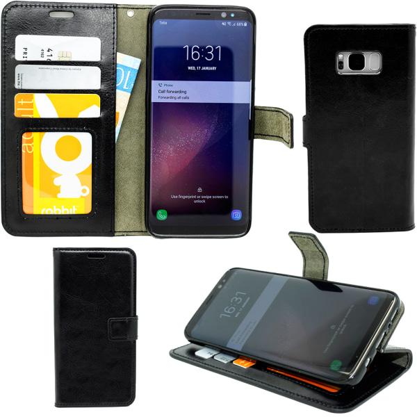 Läder Fodral / Plånbok / skal / skydd Samsung Galaxy S6 Svart