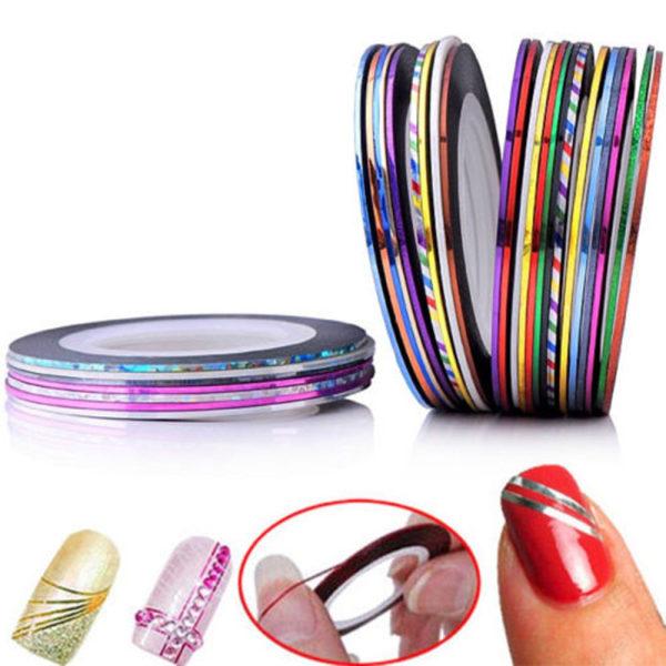 Striping tape nageltejp nageldekorationer - 10pack