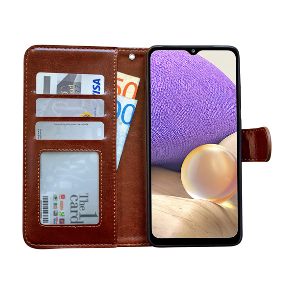 Samsung Galaxy A12 / A12 5G - Läderfodral / Skydd Svart