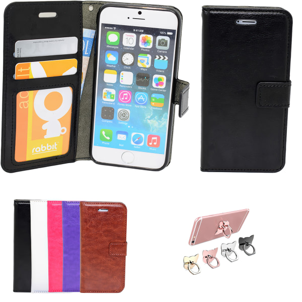 iPhone 5/5s/SE - Plånboksfodral i läder med ID ficka Vit