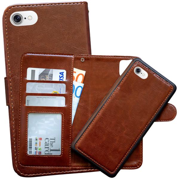 iPhone 7/8/SE (2020) - Plånboksfodral / Magnet Skal + Skärmsky Brun