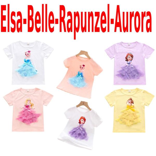 Princess sommar 3D T-shirts & byxor-Elsa-Belle-Rapunzel-Aurora Elsa vit 130