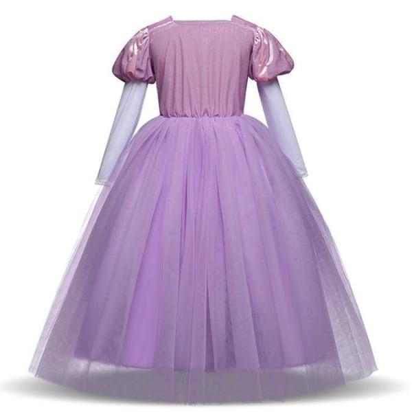 Prinsess Rapunzel klänning Tangled kostym + 7 extra tillbehör Purple 110