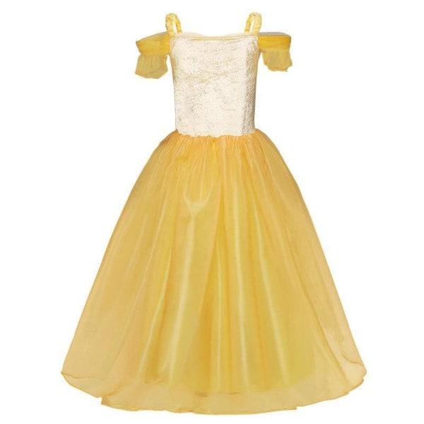 Princess Belle klänning Skönheten & odjuret  + 7 extra tillbehör Yellow 110