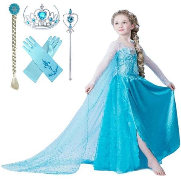 Elsa prinsessa klänning +4 extra tillbehör LightBlue 130