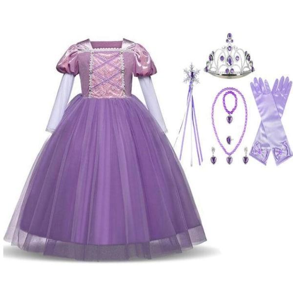 Prinsess Rapunzel klänning Tangled kostym + 7 extra tillbehör Purple 130