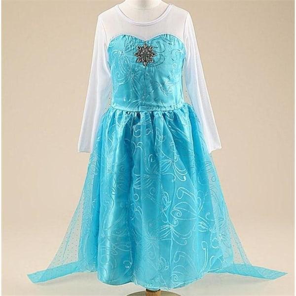 Elsa princess klänning + 7 extra tillbehör LightBlue 150