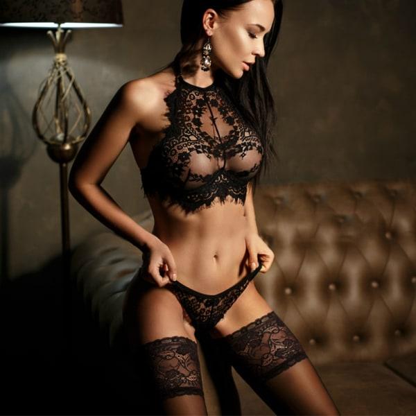 Kvinnors spetsar Halterneck Genomskinlig underkläder-rem Black L
