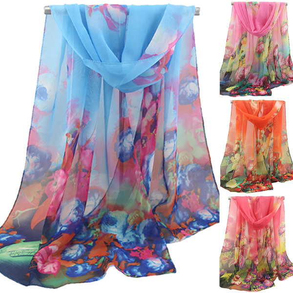 Kvinnors tryckta gasduk sjal mode retro elegant halsduk Tangerine 47*152cm