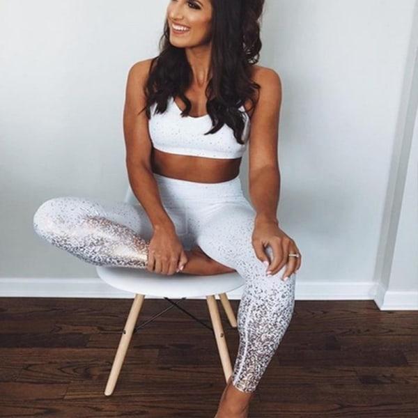 Kvinnors paljetttryckta yogabyxor fitness sportyoga byxor white S