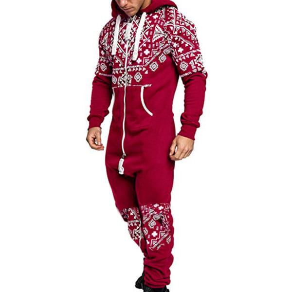 Herrtröja i ett stycke, pyjamasbottenbyxor red M
