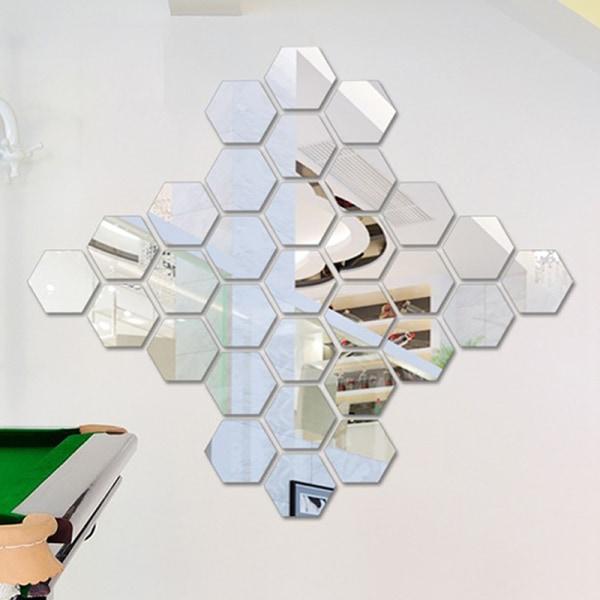 klistermärken 12st Avtagbar självhäftande spegelinställningsvägg 12pcs