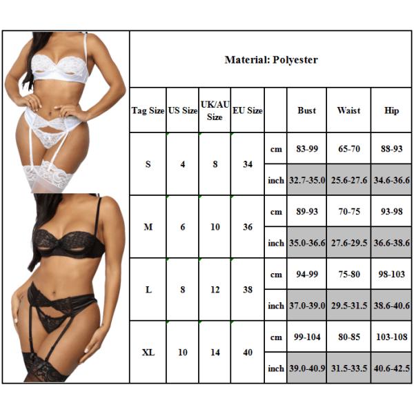 Kvinnors sexiga underkläder Set Spets Push Up Top BH Underkläder Nattkläder White S