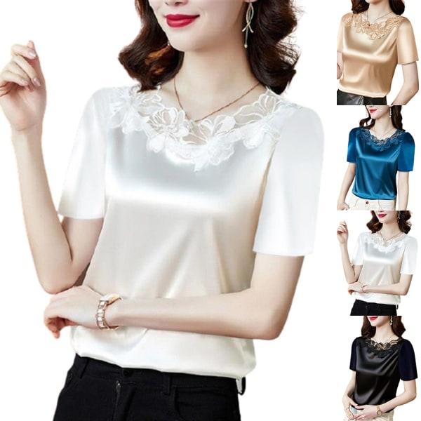 Dam sommar elegant T-tröja i enfärgad spetssöm white 3XL