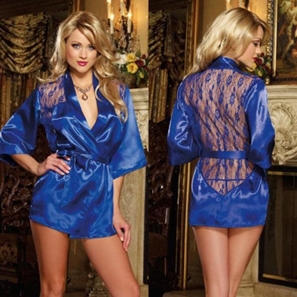 Kvinnors sexiga sidenlinne nattlinne med spetsar bakåt med G-sträng Blue S