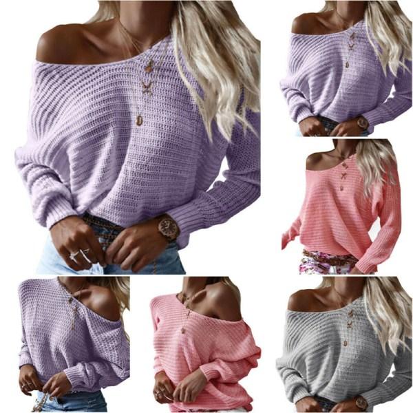 Kvinnor damer höst vinter varm skön tröja långärmade toppar Purple S