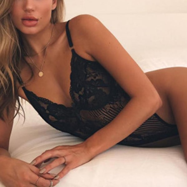 Dam Sexiga ögonfransar Spets Bodysuit Underkläder Underkläder Svart M
