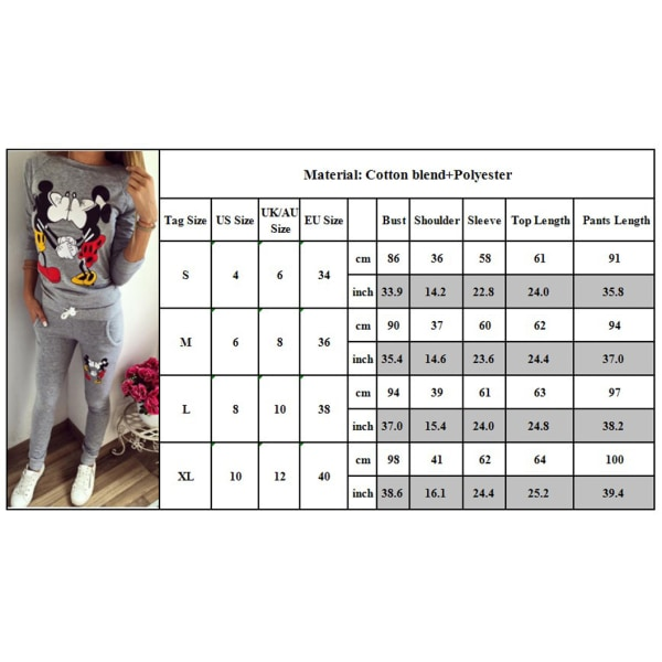 Kvinnor kysser Mickey Mouse Cartoon Sport Casual Home Overalls Grey S