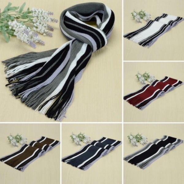 Kvinnors färgmatchande randiga halsduk sjal mode halsduk black